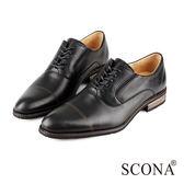 SCONA 全真皮 義式簡約綁帶紳士鞋 黑色 0837-1