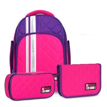Tiger Family彩虹超輕量護脊書包+文具袋+鉛筆盒-玫瑰紅