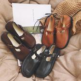 英倫復古女娃娃鞋 日系復古森女圓頭娃娃鞋單鞋學院風女鞋英倫風小皮鞋平底丁字鞋女 99免運