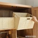 編織收納筐桌面整理箱零食雜物收納盒玩具藤編收納框布藝家用籃子