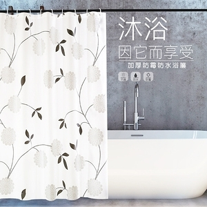 【APEX】時尚加厚型防水浴簾-黑白花團黑白花團