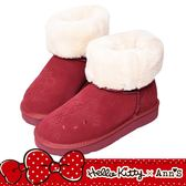 HELLO KITTY X Ann'S毛茸茸可愛靴面刺繡中筒可反摺真皮雪靴-紅