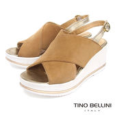 Tino Bellini 歐洲進口麂皮寬帶交叉楔型涼鞋 _ 棕 A83034 歐洲進口款