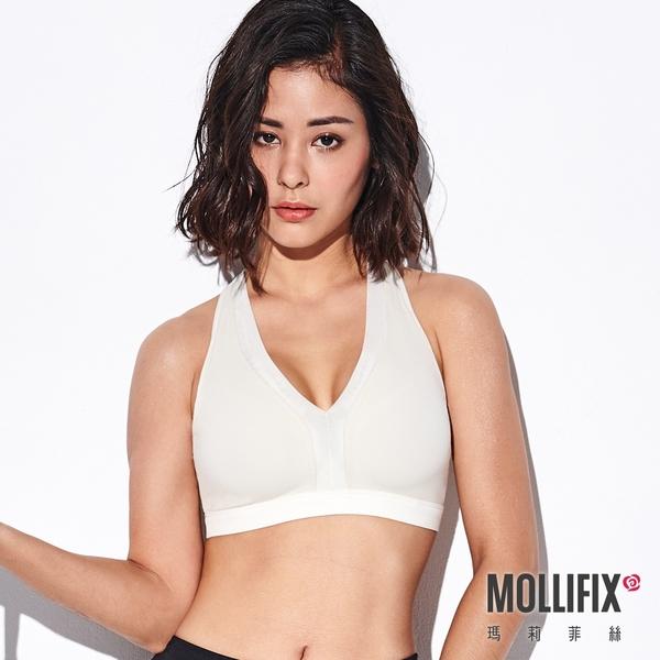 Mollifix 瑪莉菲絲 深V後交叉運動內衣 (白)