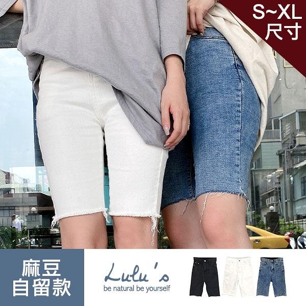 LULUS【A04200127】Q不修邊彈性五分牛仔短褲S-XL3色