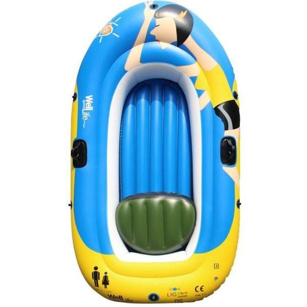 橡皮船充氣船下網漁船釣魚船單人雙三人1234人皮劃艇塑料船加厚 英雄聯盟igo