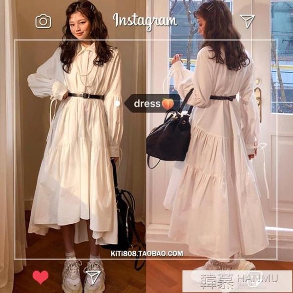 韓版復古長款襯衫裙收腰顯瘦氣質POLO領高級感小個子洋裝女春秋 夏季新品
