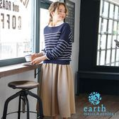 ❖ Hot item ❖ 【SET ITEM】定番橫條紋針織衫+襯衫上衣+打摺寬褲裙 - earth music&ecology