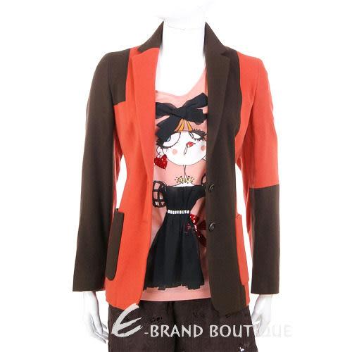 GBR 雙色拼接西裝外套(咖啡/橘色) 0510826-17