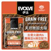 【力奇】Evolve 伊法 天然無穀犬糧-去骨火雞肉,鷹嘴豆&豌豆配方14LB【效期2021.01.25】(A001E07)