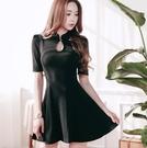 大尺碼禮服 韓版性感水滴領顯瘦短袖連身裙 L-4XL #wm7477 ❤卡樂❤