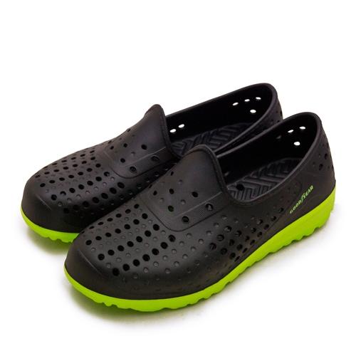 LIKA夢 GOODYEAR 排水透氣輕便水陸多功能休閒洞洞鞋 黑綠 03670 男