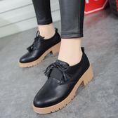 正韓風女鞋小皮鞋流蘇粗跟復古單鞋厚底中跟牛津鞋小白鞋