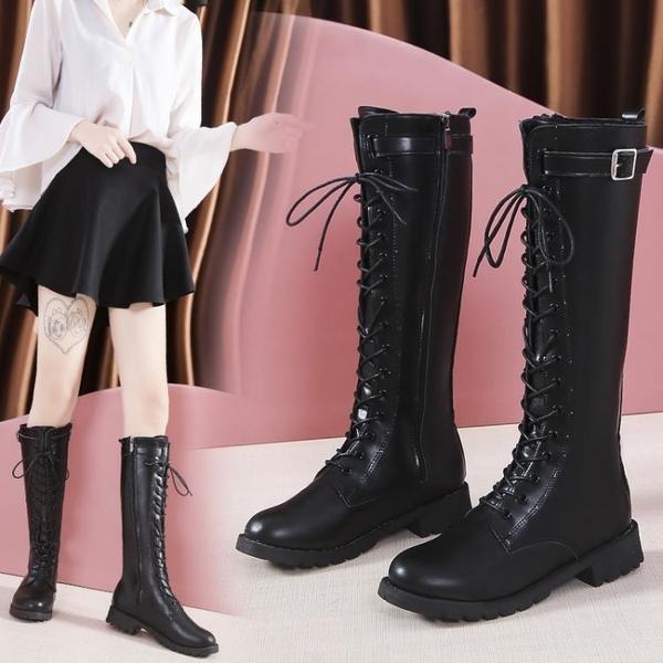 膝上靴 騎士靴女系帶高筒靴2019秋冬季新款中跟女鞋長筒網紅ins瘦瘦靴子