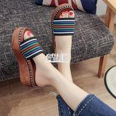 【免運】拖鞋一字拖厚底鬆糕跟拼色涼鞋夏季新款中跟室外穿女鞋子時尚