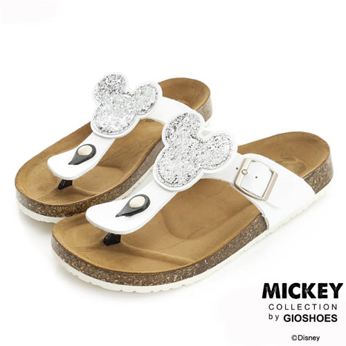 Disney 簡約舒適~米奇亮片休閒夾腳拖鞋-白