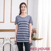 【RED HOUSE-蕾赫斯】條紋拼接雪紡長版上衣(共二色)