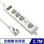 威電 CK3143-09 3P 1開4插電源延長線 9呎 2.7M