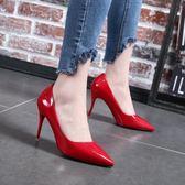 韓版時尚高跟鞋性感百搭單鞋紅色婚鞋學生氣質女鞋