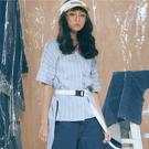 藍白條紋前短後長短袖上衣【1919401481】