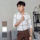 男 設計款/撞色/格紋/長袖襯衫 L AME CHIC 撞色大格紋長袖襯衫【 FTLS073104 】