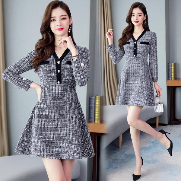 清倉388 韓系優雅氣質V領紐扣小香風黑白格紋長袖洋裝