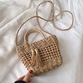 流蘇包夏天女包包潮森系流蘇草編包海邊度假編織手提斜挎包快速出貨