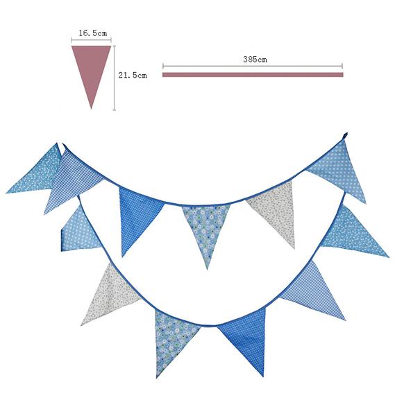 [韓風童品] 12片大尺寸藍色系棉布三角旗 嬰兒房佈置 露營 戶外野營 兒童帳篷裝飾 生日派對