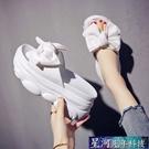 增高拖鞋 高跟鬆糕涼拖鞋女夏季增高外穿新款時尚花朵鬆糕蝴蝶結拖鞋 星河光年