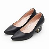 MICHELLE PARK 魅力名伶 尖頭金屬鑲嵌粗跟鞋-黑