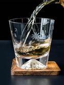 摩登主婦富士山玻璃杯水晶杯玻璃威士忌酒杯雞尾酒杯子家用洋酒杯