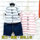 【韓版童裝】彈力寶寶條紋9號魚英字上衣-灰/粉【BX18031338】