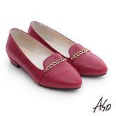A.S.O 優雅美型 羊皮條帶窩心低跟鞋  暗紅