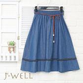 J-WELL 異國風腰帶牛仔裙(2色) 8J1571