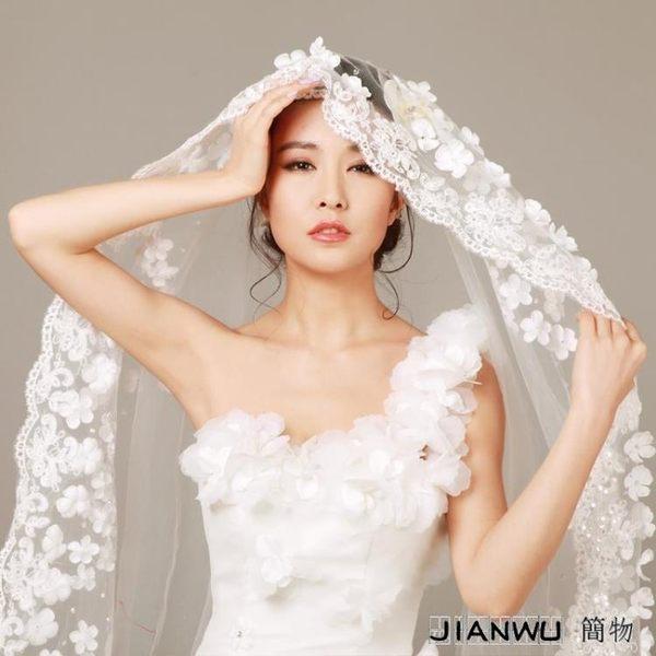 頭飾 2019新款新娘婚紗禮服配件3米超長拖尾軟頭紗