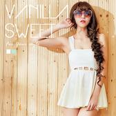 腰間小露性感連身裙連身洋裝泳衣二件組 夏日比基尼 - 香草甜心 愛戀白
