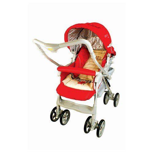 A07521【BabyBabe】雙向歐風加寬秒縮嬰幼兒手推車(附蚊帳)-紅