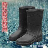 雨鞋 時尚男雨鞋中高筒防水防滑韓版仿皮機車水鞋套鞋釣魚水靴雨靴·夏茉生活