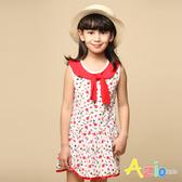 Azio 女童 洋裝 紅色領結滿版小蘋果無袖洋裝(紅) Azio Kids 美國派 童裝