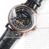 KINYUED 國王鏤空機械錶 太陽月亮 羅馬陀飛輪 IP黑電鍍 皮帶 男錶 女錶 防水手錶 K1811玫黑