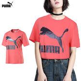 Puma 流行系列 LOGO 女 粉 短袖上衣 運動上衣 短T 休閒 短袖 T恤 57628892