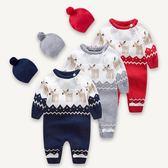 新生兒衣服秋冬 嬰兒連體衣帶帽6棉質哈衣 0-3個月寶寶針織爬服潮