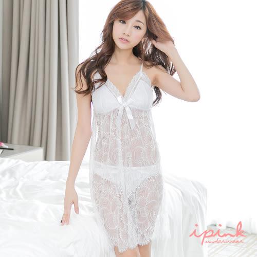 i PINK 優雅婉約 奢華蕾絲胸墊連身裙睡衣(白)