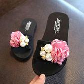 可愛兒童拖鞋 女親子拖鞋甜美花朵沙灘鞋海邊一字拖 艾米潮品館