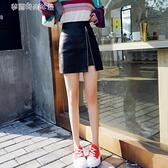 包臀裙 秋冬新款女皮裙半身裙高腰不規則包臀裙超火的冬裙A字短裙  【全館免運】
