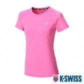 【超取】K-SWISS PF Logo Tee排汗T恤-女-桃紅