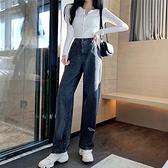 S-5XL牛仔寬褲~韓版直筒破洞牛仔長褲女高腰大碼胖MM寬松顯瘦闊腿哈倫褲BF-14F衣時尚