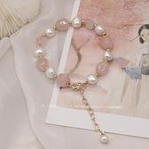 手錬 淡粉色夢境。天然珍珠水晶手錬女ins小眾設計招桃花手串