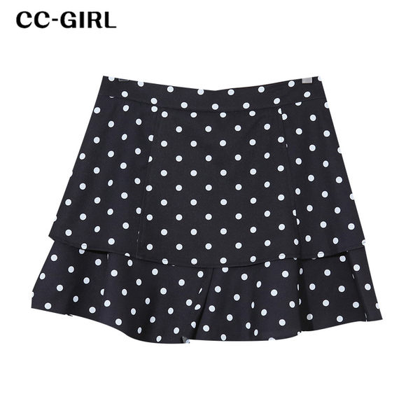 中大尺碼 黑色波點層次A字短褲裙 《 68201 》 - 適XL~5L CC-GIRL