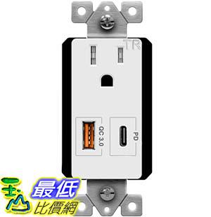 [9美國直購] TOPGREENER TU115QC3PD USB 插座 Outlet with 18W Type-C Power Delivery Port